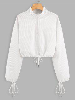 Half Zip Drawstring Cropped Sweatshirt - White L
