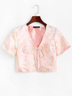 Floral Jacquard Tie Front Oriental Top - Light Yellow M