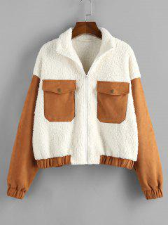 ZAFUL Patchwork Suede Panel Teddy Coat - White S