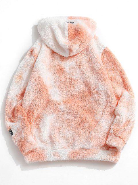 women Tie Dye Fluffy Front Pocket Hoodie - LIGHT YELLOW XL Mobile