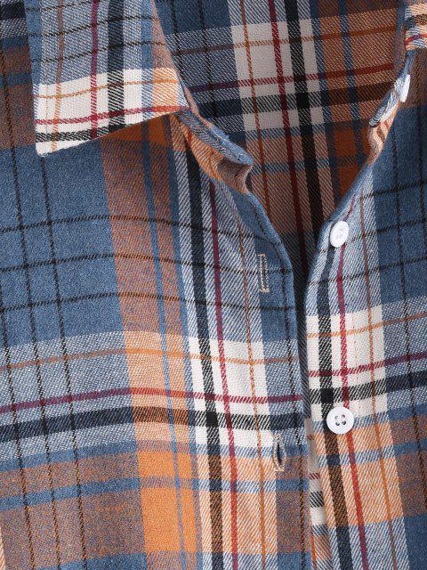 best Plaid Pockets Boyfriend Shirt - BLUE XL Mobile