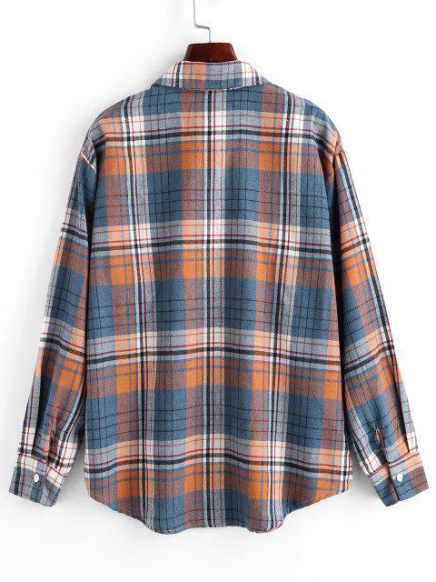 Camisola xadrez com bolsos obliquos - Azul M Mobile