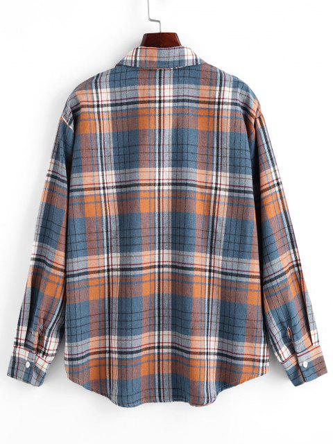 Plaid Pockets Boyfriend Shirt - أزرق S Mobile