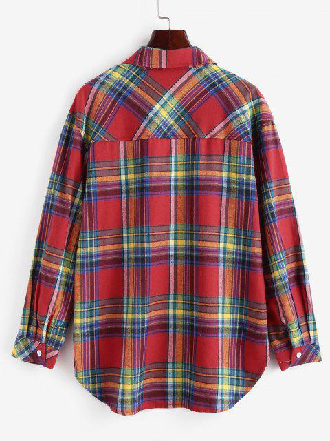 lady Plaid Button Up Pockets Shirt - RED S Mobile