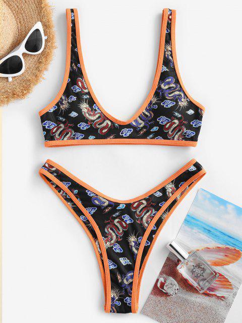 women ZAFUL Chinoiserie Dragon Print Contrast Binding High Cut Bikini Swimwear - BLACK S Mobile