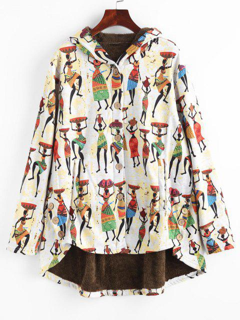 Faux Fur Lined Indian Print High Low Coat - متعدد S Mobile
