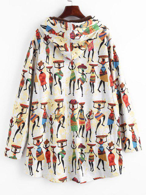 ladies Faux Fur Lined Indian Print High Low Coat - MULTI XL Mobile