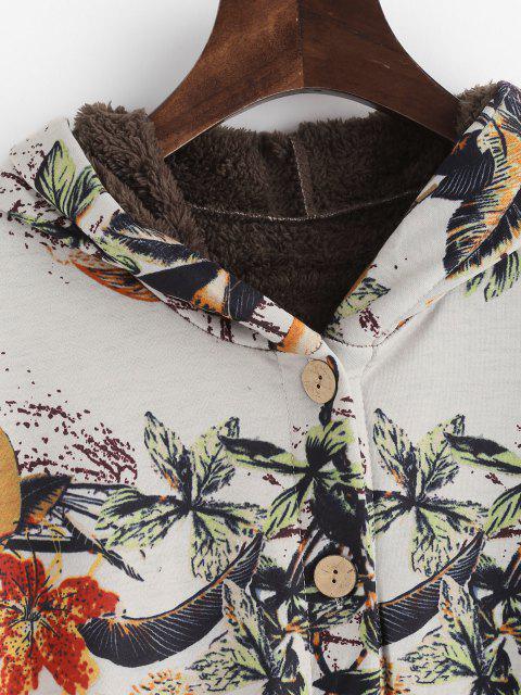 Manteau Haut Bas Feuille Imprimée à Doublure en Fausse Fourrure - Multi S Mobile
