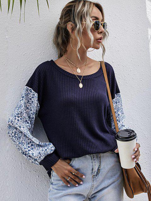 Top con Panel Floral y Hombro Caído - Azul Profundo S Mobile