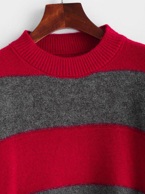 Maglione a Blocchi di Colore con Spalle Scivolate - Rosso Taglia unica Mobile