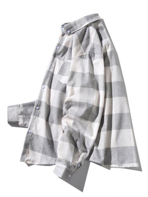 長袖プラッドポケットパッチシャツ - ライトグレー XS Mobile