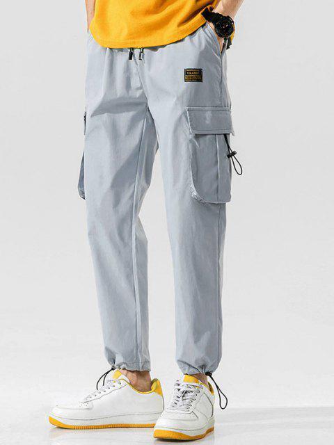 online Side Flap Pocket Letter Patch Pants - LIGHT GRAY M Mobile