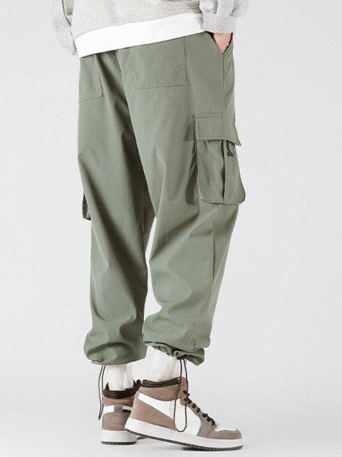 unique Side Flap Pocket Letter Patch Pants - LIGHT GREEN S Mobile