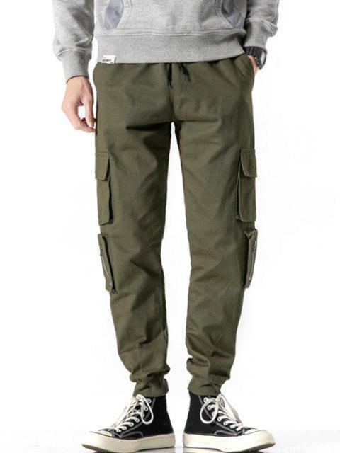 buy Zipper Decoration Multi Pockets Cargo Pants - ARMY GREEN S Mobile