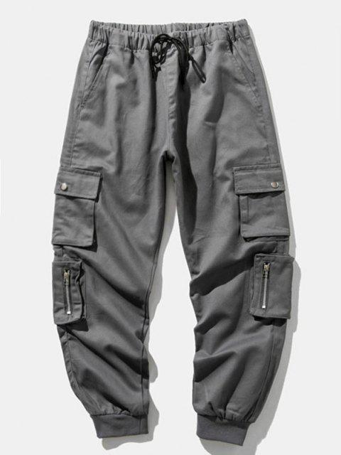 chic Zipper Decoration Multi Pockets Cargo Pants - GRAY XS Mobile