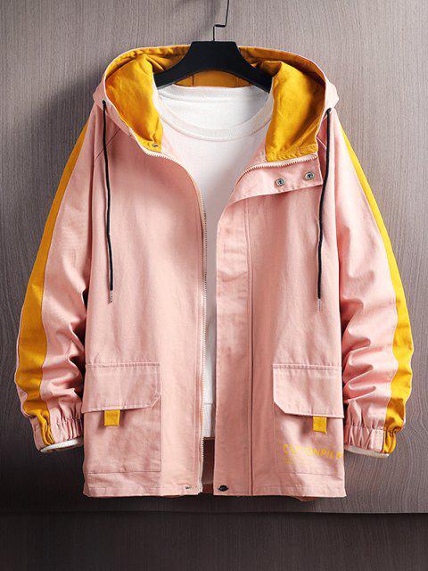 Veste à Capuche Lettre en Blocs de Couleurs à Manches Raglan - Rose  2XL Mobile