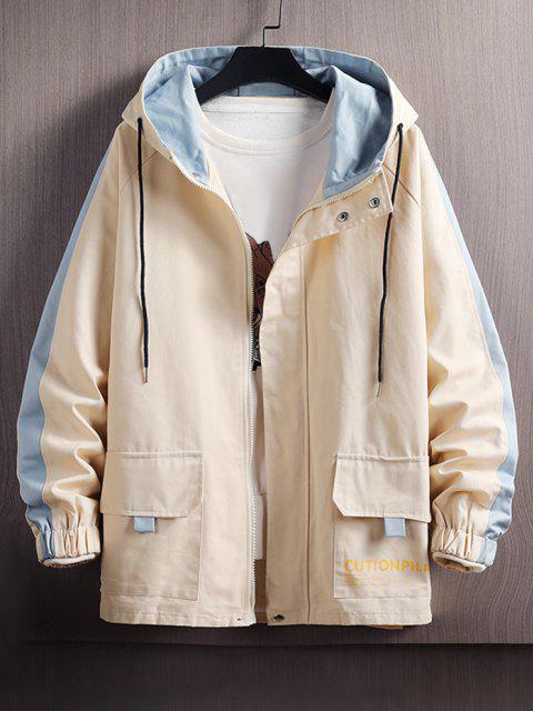 buy Raglan Sleeve Colorblock Letter Hooded Jacket - BEIGE 2XL Mobile