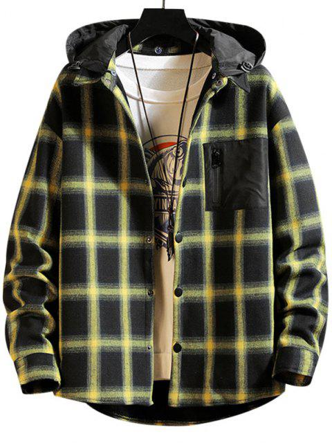 womens Plaid Plush Lined Colorblock Hooded Shirt Jacket - YELLOW M Mobile