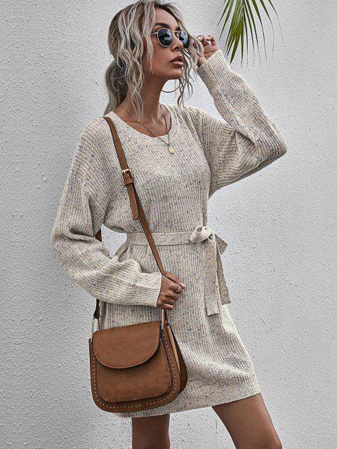 Mini Vestido Jersey Entretejido y Cinto - Multicolor-A S Mobile