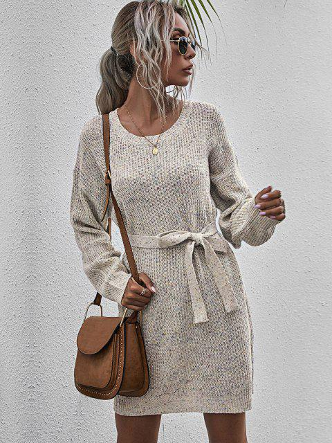 Mini Vestido Jersey Entretejido y Cinto - Multicolor-A M Mobile