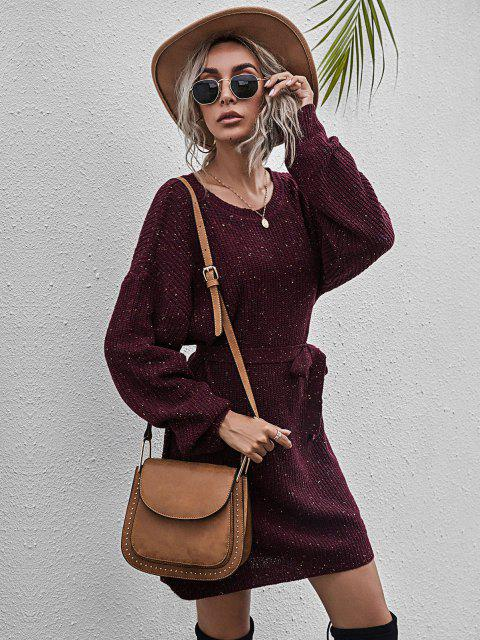 hot Belted Heathered Mini Sweater Dress - RED WINE M Mobile