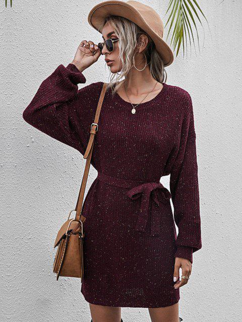 Mini Vestido Jersey Entretejido y Cinto - Vino Tinto L Mobile