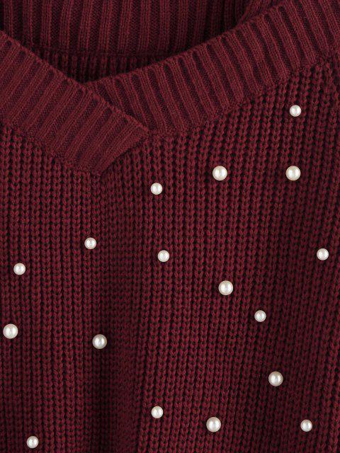 ZAFUL Camisola frisada com Recorte de Ombro Caído - Vermelho escuro L Mobile