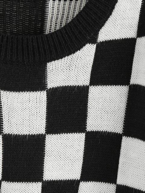 new ZAFUL Checkered Drop Shoulder Ribbed Trim Sweater - BLACK S Mobile