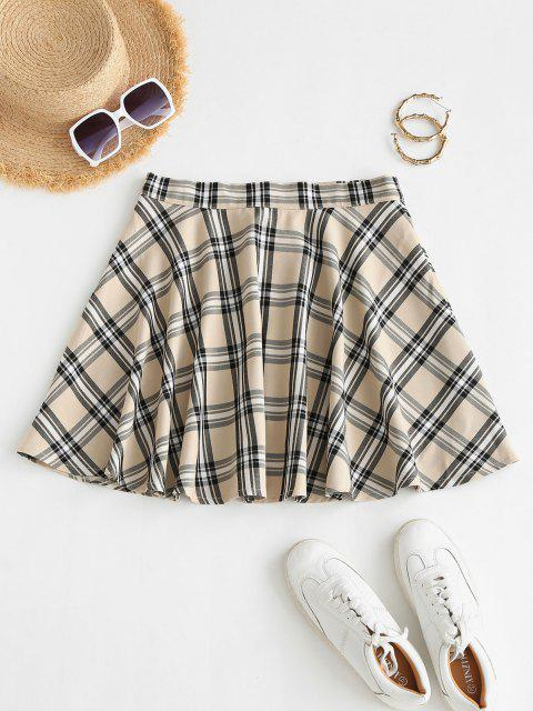 trendy Plaid Button Fly A Line Skirt - LIGHT COFFEE M Mobile