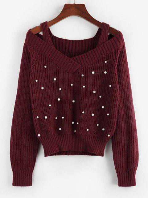 lady ZAFUL Cold Shoulder Beaded Cutout Sweater - DEEP RED S Mobile