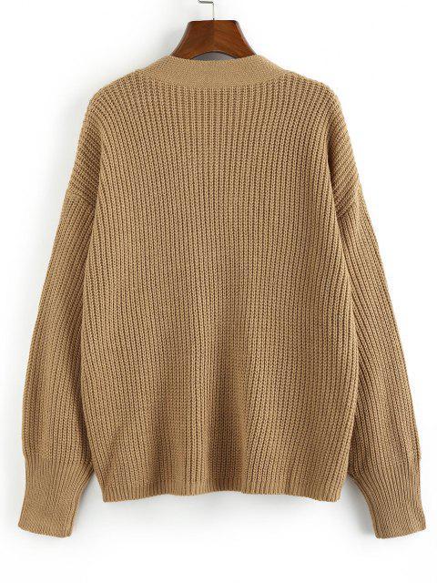 latest ZAFUL Mock Button V Neck Drop Shoulder Loose Sweater - LIGHT COFFEE S Mobile