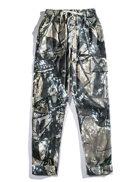 Pantalones de Carga con Estampado de Rama de Árbol - Multicolor-A XL Mobile