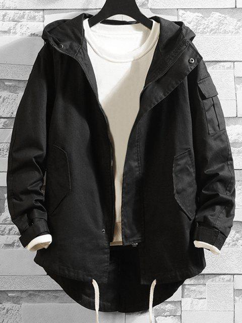 lady High Low Multi-pocket Hooded Jacket - BLACK XS Mobile