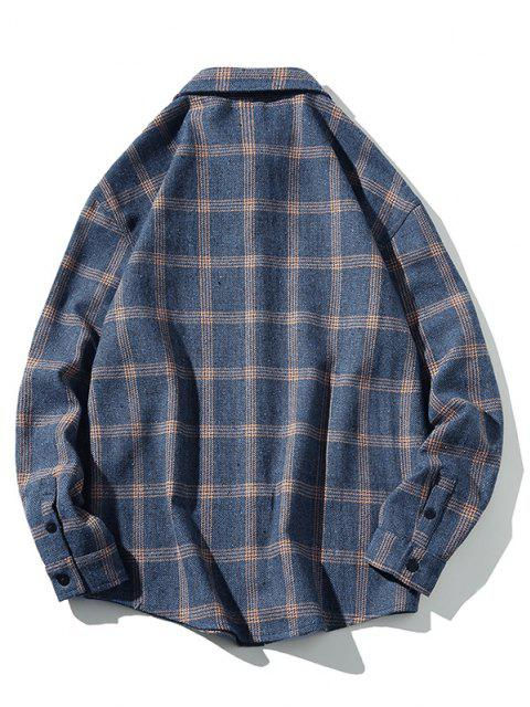 trendy Plaid Letter Patched Long Sleeve Shirt - DARK SLATE BLUE S Mobile