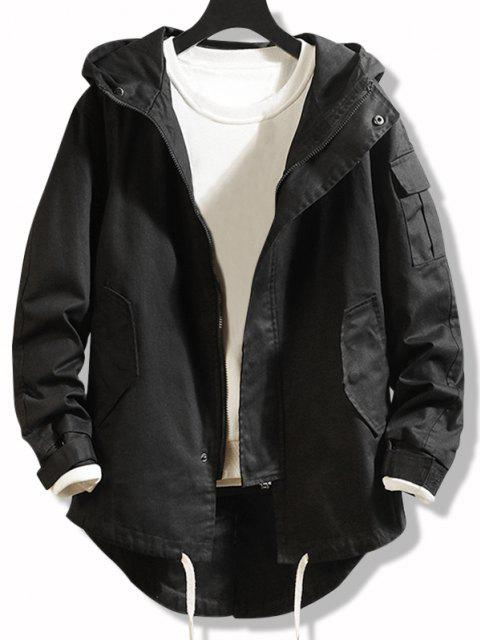 best High Low Multi-pocket Hooded Jacket - BLACK M Mobile