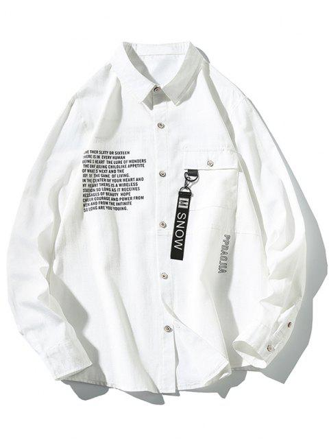 hot Long Sleeve Text Print Pocket Button Up Shirt - WHITE M Mobile