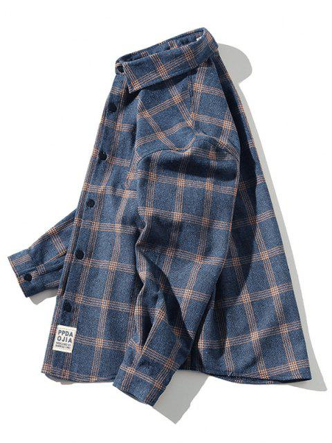 chic Plaid Letter Patched Long Sleeve Shirt - DARK SLATE BLUE XL Mobile