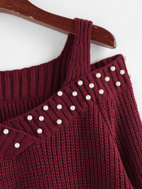 ZAFUL Künstliche Perle Verschönerter Pullover mit Offener Schulter - Tiefrot S Mobile