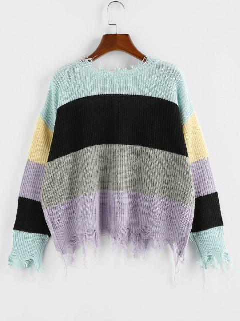 outfit ZAFUL Colorblock Ripped V Neck Sweater - MULTI-M S Mobile