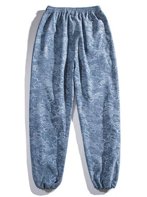 shop Camouflage Print Beam Feet Pants - SILK BLUE M Mobile