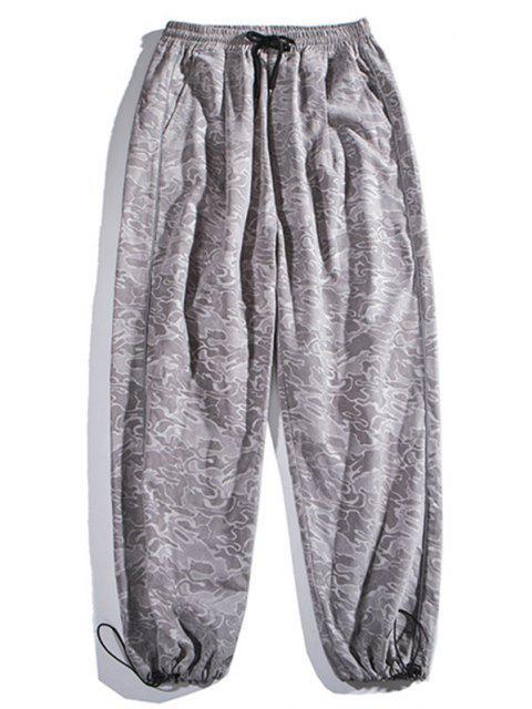 women Camouflage Print Beam Feet Pants - GRAY CLOUD L Mobile