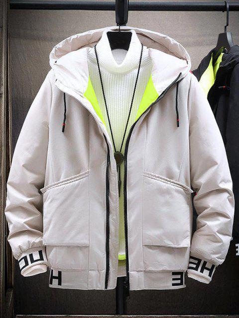 Kapuze Buchstabedruck Bunte Linien Detail Gepolsterte Jacke - Weiß XS Mobile