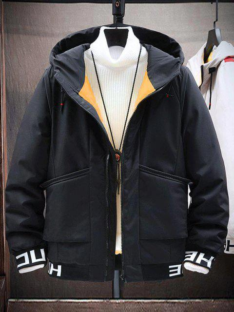 fancy Hooded Letter Print Colorful Lines Detail Padded Jacket - BLACK M Mobile