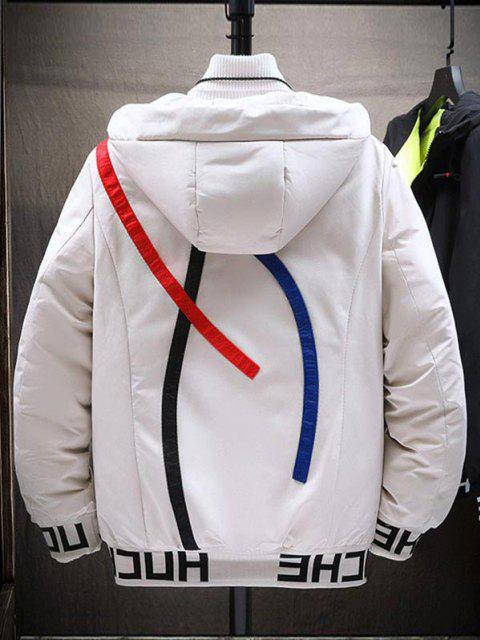 online Hooded Letter Print Colorful Lines Detail Padded Jacket - WHITE S Mobile