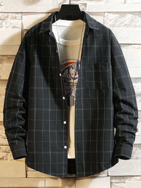women Windowpane Check Print Pocket Patch Shirt - BLACK XS Mobile