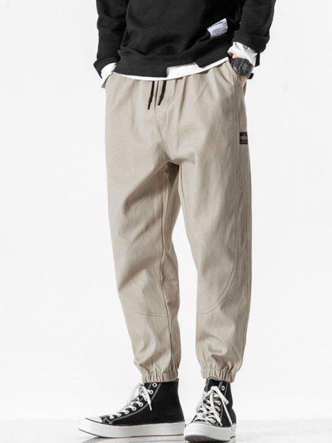Pantalones Rayados Estampado Letras - Caqui Claro S Mobile