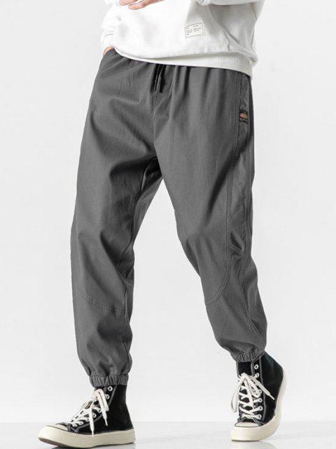 Pantalones Rayados Estampado Letras - Gris Oscuro S Mobile
