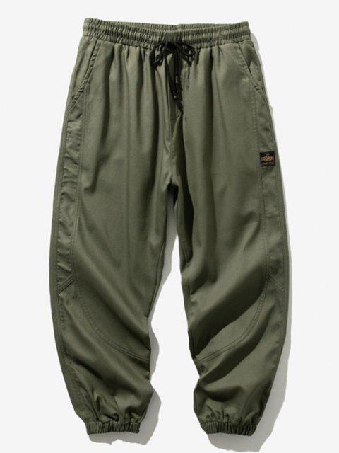 Pantalones Rayados Estampado Letras - Ejercito Verde S Mobile