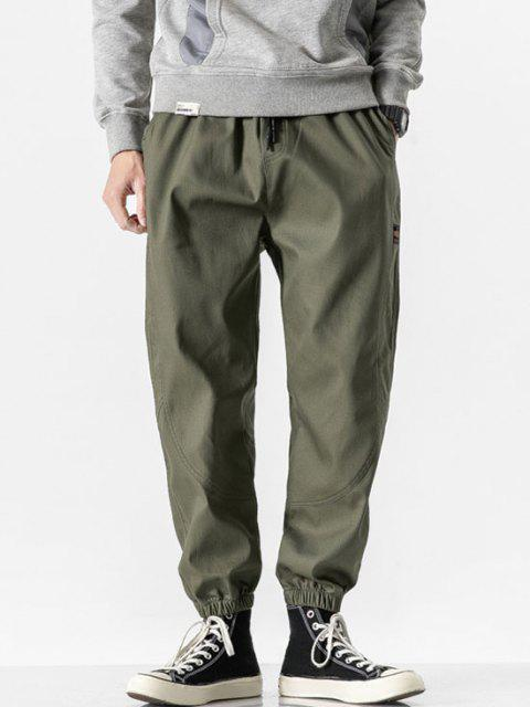 sale Letter Patched Beam Feet Pants - ARMY GREEN XS Mobile