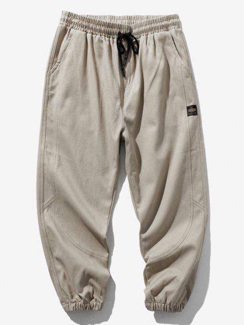 Pantalones Rayados Estampado Letras - Caqui Claro M Mobile